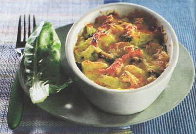 Запеканка с ветчиной и мангольдом - блюдо 400 калорий - меню для похудения