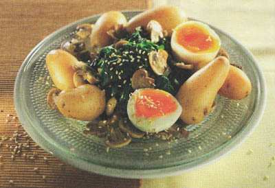 Картофель с шампиньонами и шпинатом - блюдо 400 калорий - меню для похудения