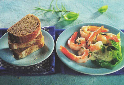 Креветки с травяным соусом и багетами - блюдо 400 калорий - меню для похудения