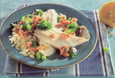 Морской язык с рисом и креветками - блюдо 400 калорий - меню для похудения